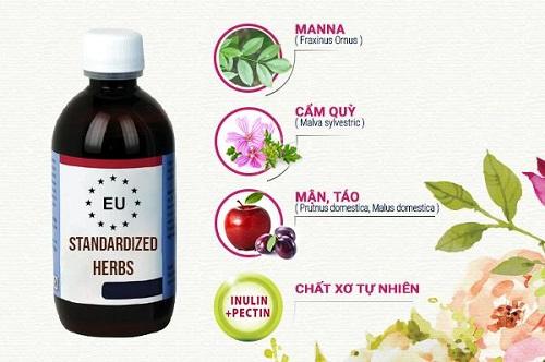 Công thức siro thảo dược chuẩn hóa đặc trị táo bón trẻ nhỏ