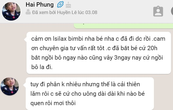 Mẹ Hai Phung chia sẻ sau khi dùng Isilax bimbi đủ liệu trình cho bé