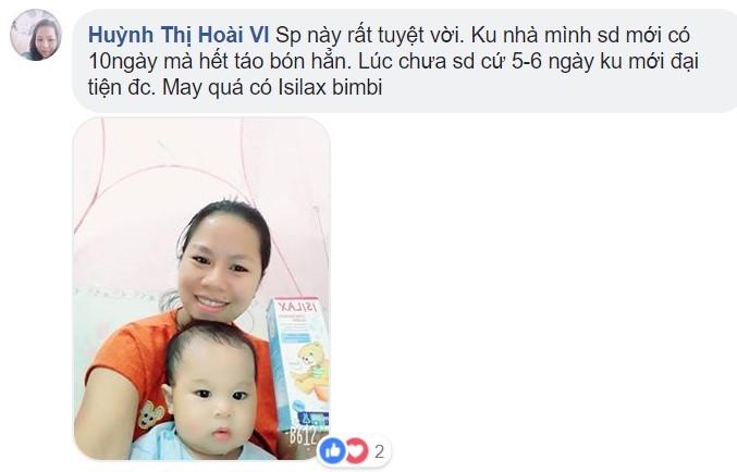 Mẹ Huỳnh Thị Hoài Vi chia sẻ sau khi sử dụng Isilax bimbi cho bé nhà mình