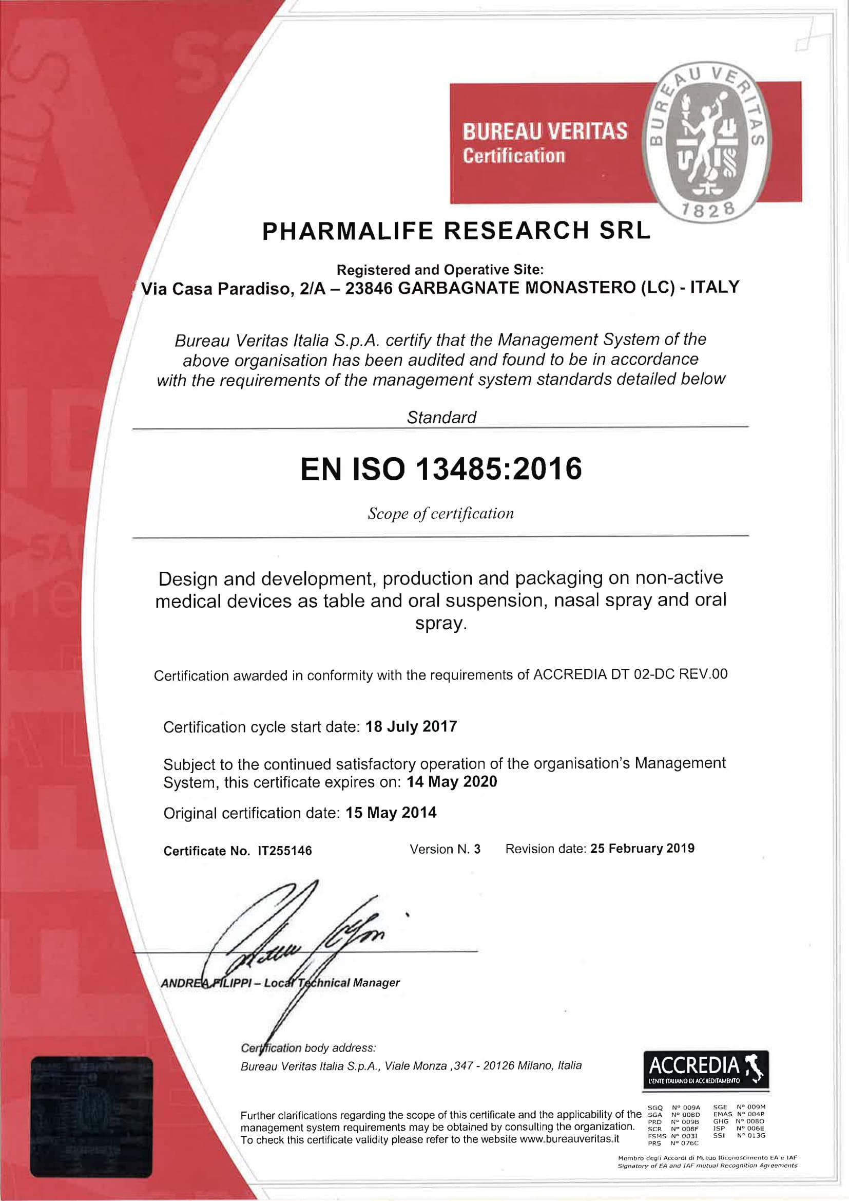 PHARMALIFE RESEARCH SRL - 13485 - ING-1