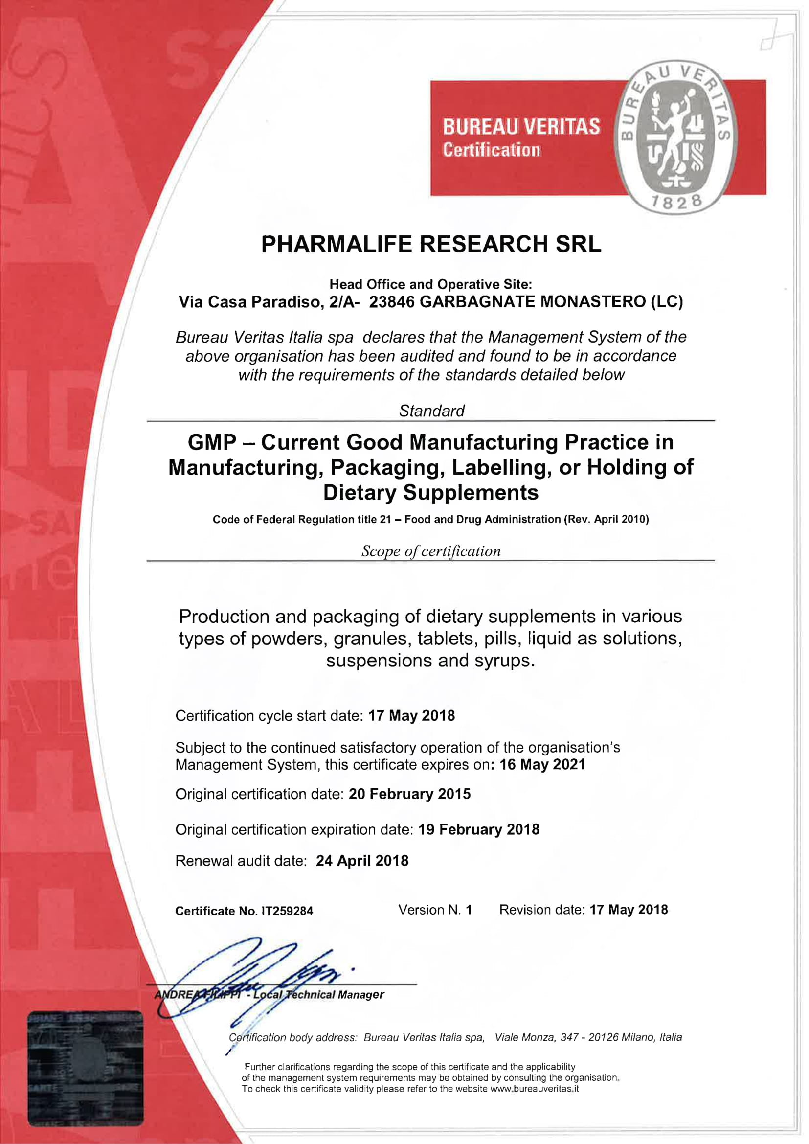 PHARMALIFE RESEARCH SRL - CERT GMP ENG-1